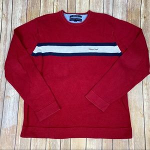 Mens Tommy Hilfiger Red Crewneck Sweater, Sz M